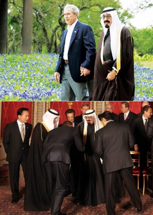 Presidents Bush and Obama with King Abdullah of Saudi Arabia