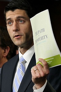 WASHINGTON, DC - APRIL 05:   U.S. Rep. Paul Ryan (R-WI) (C), chairman of the House Budget Committee, holds up a copy of the 2012 Republican budget proposal during a news conference April 5, 2011 on Capitol Hill in Washington, DC. House Republicans have unveiled their version of the budget proposal for FY 2012 which would cut government spending $6.2 tillion more in 10 years than the version by the Obama Administration.  (Photo by Alex Wong/Getty Images)